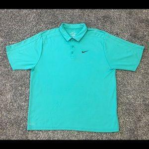 Nike Dri Fit Teal Blue Green Golf Polo Shirt